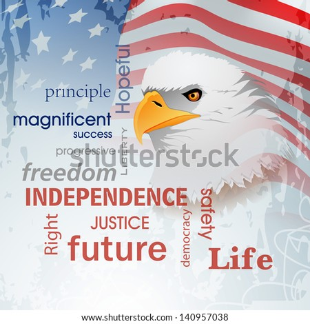 4th of July, American Independence Day background with national bird eagle on waving flag background. - stock vector