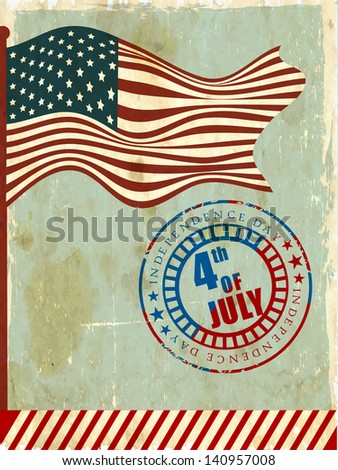 4th of July, American Independence Day background with national flag waving and grungy rubber stamp with text 4th of July. - stock vector