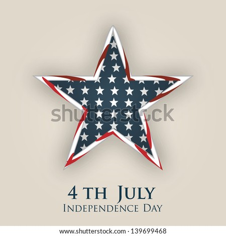 4th of July, American Independence Day background with star in national flag colors. - stock vector