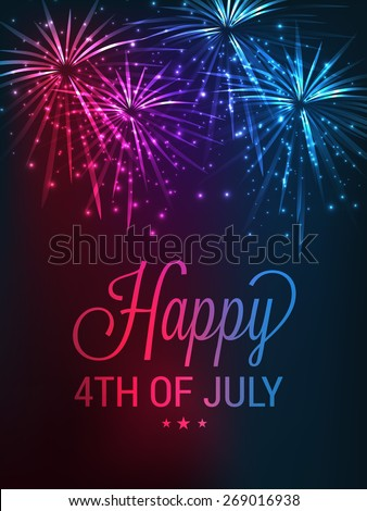 4th of July, American Independence Day celebration background with fire crackers. - stock vector