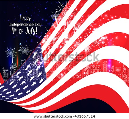 4th of July, American Independence Day celebration background with fireworks - stock vector