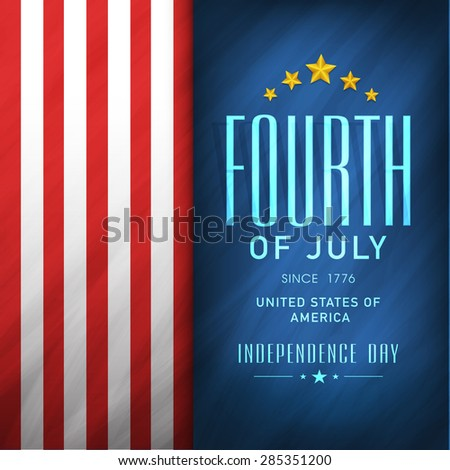 4th of July, American Independence Day celebration flyer, banner or template in national flag color. - stock vector