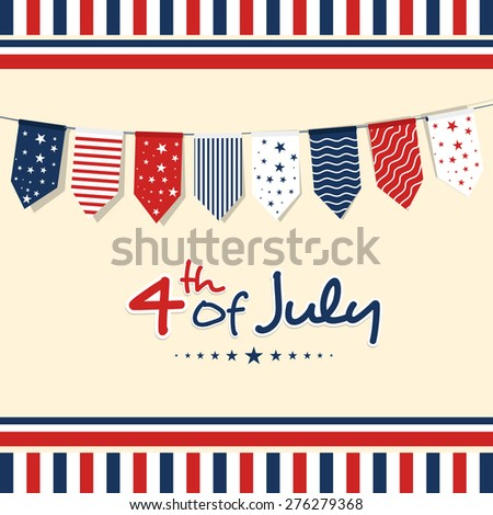 4th of July, American Independence Day celebration greeting card with bunting in national flag color. - stock vector