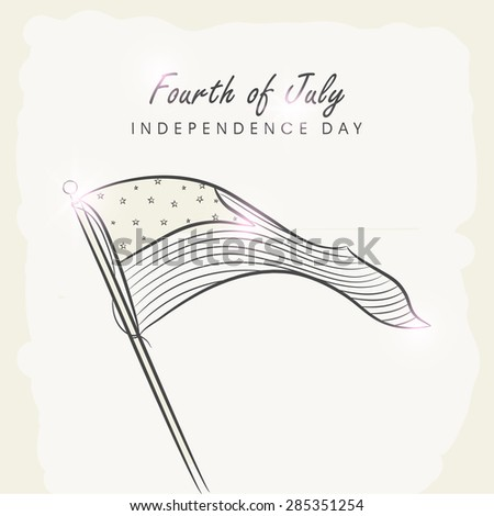 4th of July, American Independence Day celebration greeting card with national flag waving on vintage background. - stock vector