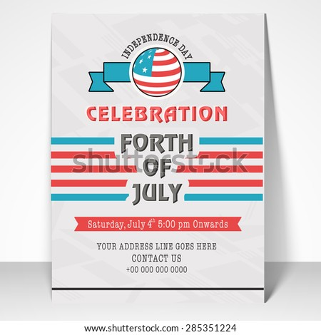 4th of July, American Independence Day celebration invitation card design with date, time and place details. - stock vector
