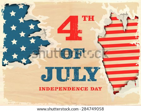4th of July, American Independence Day celebration with creative illustration of national flag in the hole. - stock vector