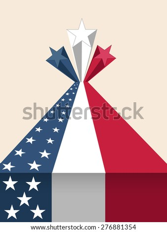 4th of July, American Independence Day celebration with creative national flag color 3D stars. - stock vector