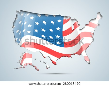 4th of July, American Independence Day celebration with illustration of USA map covered by flag. - stock vector