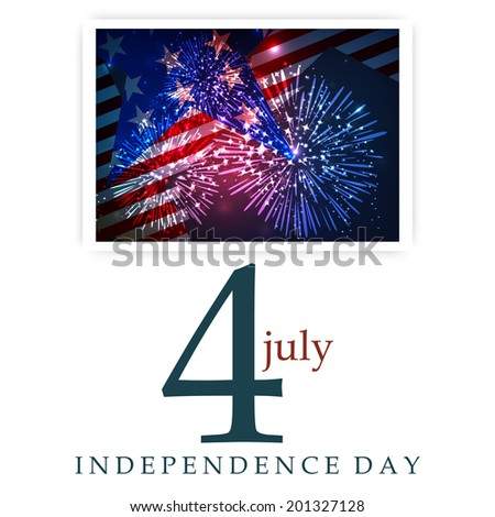 4th of July, American Independence Day celebrations with stylish fireworks and flag in LCD screen.  - stock vector