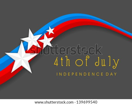 4th of July, American Independence Day concept with national flag colors waves and stars on grey background. - stock vector