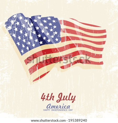 4th of july American independence day greeting card with flag. Vector illustration in vintage style. Retro poster.  - stock vector
