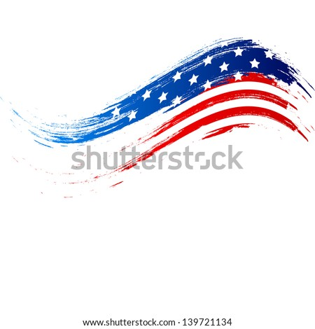 4th of July, American Independence Day grungy wave in national flag colors on white background. - stock vector