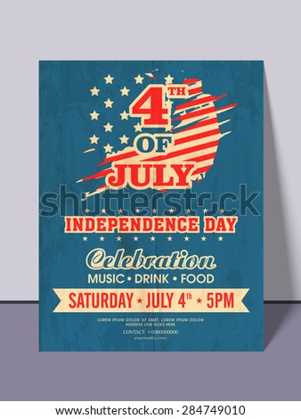 4th of July, American Independence Day party celebration invitation card design with date, time and place details. - stock vector