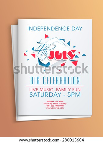 4th of July, American Independence Day party celebration invitation card with date, time and place details. - stock vector