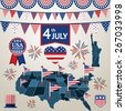 4th of july card with different signs and symbols. Vector - stock vector
