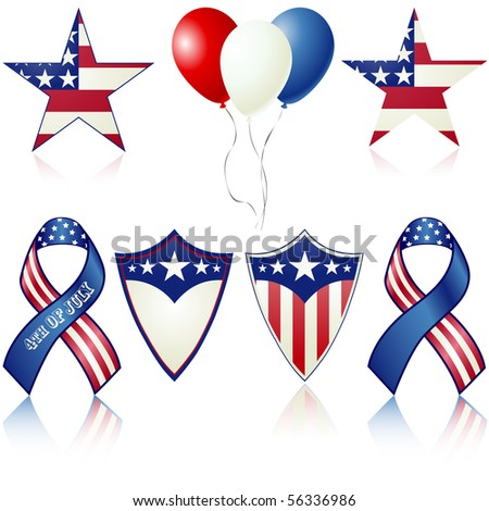 4th of July celebration vector objects isolated on white - stock vector