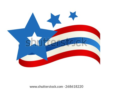 4th of July Flag Banner - stock vector