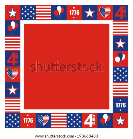 4th of july. Frame. Vector illustration.