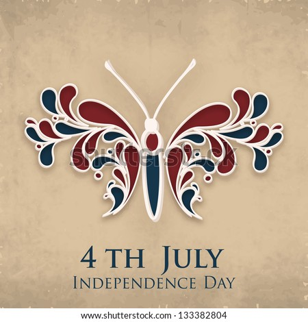 4th of July Happy Independence Day background with butterfly. - stock vector