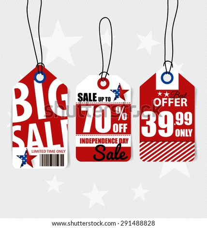 4 th of July. Happy independence day Sale Coupon, voucher, tag. Vector Illustration. - stock vector