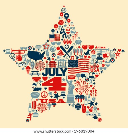 4th of July icons symbols collage T-shirt design - stock vector