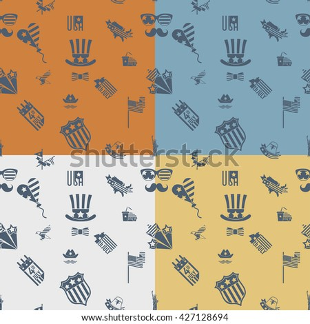 4th of July, Independence Day of the United States, Four Background in Different Colors Vector - stock vector