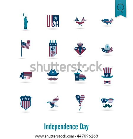 4th of July, Independence Day of the United States, Simple Flat Icons. Vector - stock vector