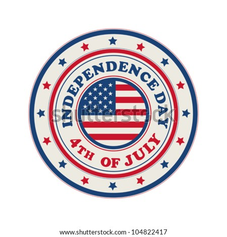 4th of July, Independence Day vector rubber stamp/ symbol over white background.
