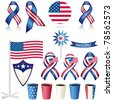 4th of July Objects, Element. Vector Set No. 3. Isolated on white. - stock vector