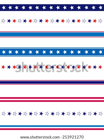 4th of July page divider / line collection on white - stock vector