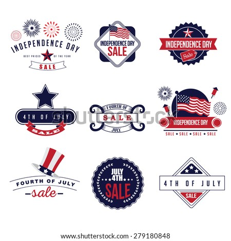 4th of July Sale icons EPS 10 vector royalty free stock illustration  - stock vector