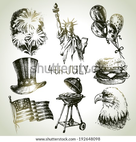 4th of July set. Hand drawn illustrations of Independence Day of America - stock vector