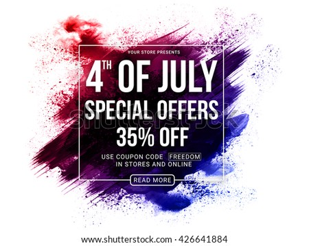 4th of July Special Offers, 4th of July Sale Poster, Sale Banner, Creative Abstract Sale Background with brush strokes, Online Sale, 35%  Off, Sale Vector for American Independence Day celebration. - stock vector
