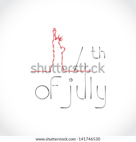 4th of July Theme with The Statue of Liberty - stock vector