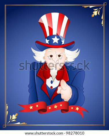 4th of July Uncle Sam Card - stock vector