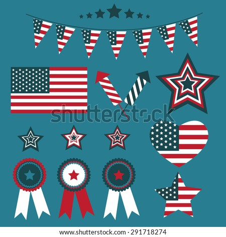 4th of July USA Independence day vector design template elements and symbols. American National holiday signs.