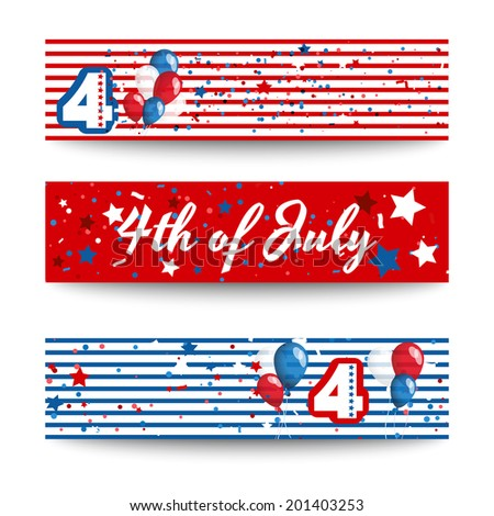 4th of july vector set of colorful cards