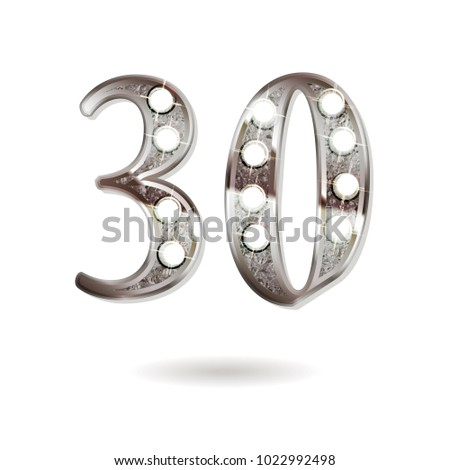 30th silver anniversary logo, ten years birthday celebration solated on white background