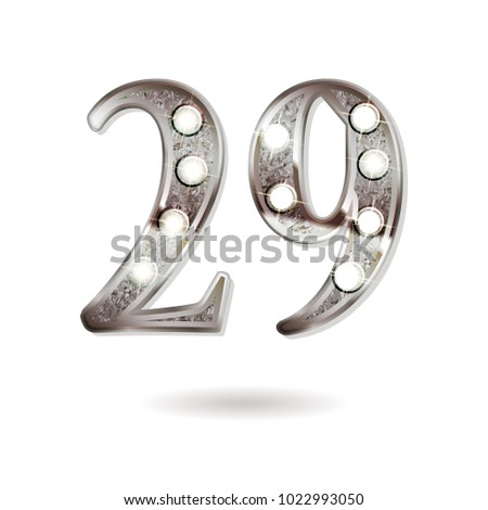 29th silver anniversary logo, ten years birthday celebration solated on white background