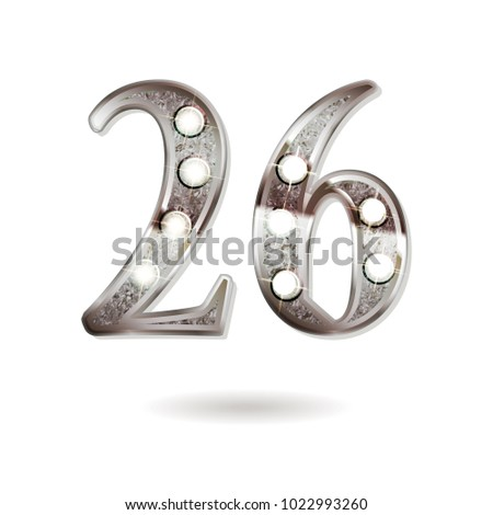 26th silver anniversary logo, ten years birthday celebration solated on white background