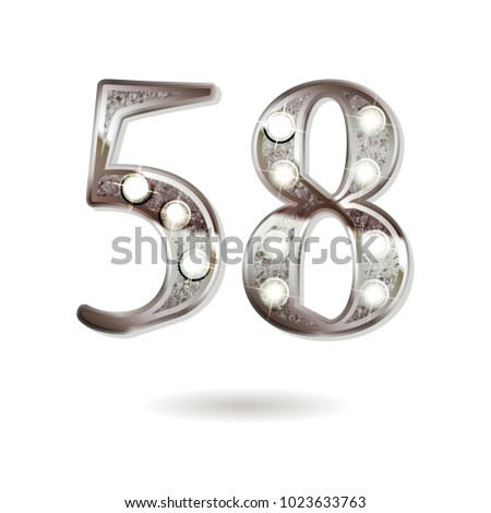 58th silver anniversary logo, ten years birthday celebration solated on white background
