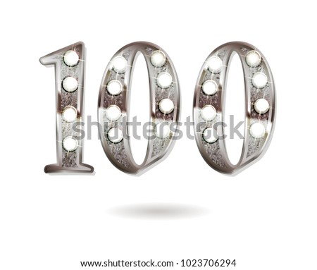 100th silver anniversary logo, ten years birthday celebration solated on white background