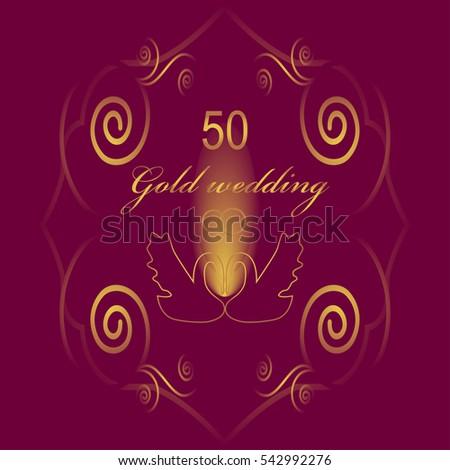 50th wedding anniversary invitation vector illustration stock vector 50th wedding anniversary invitation vector illustration stopboris Image collections