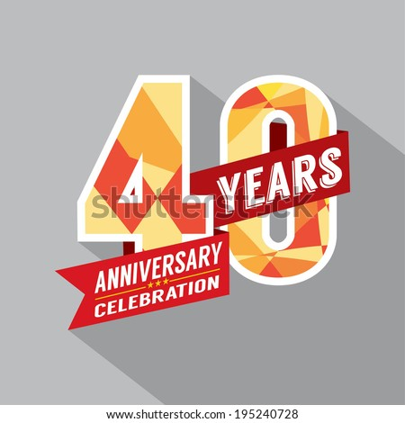 40th Year Anniversary Celebration Design - stock vector