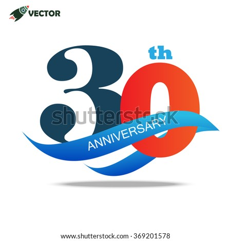 30th year anniversary logo and sign - stock vector