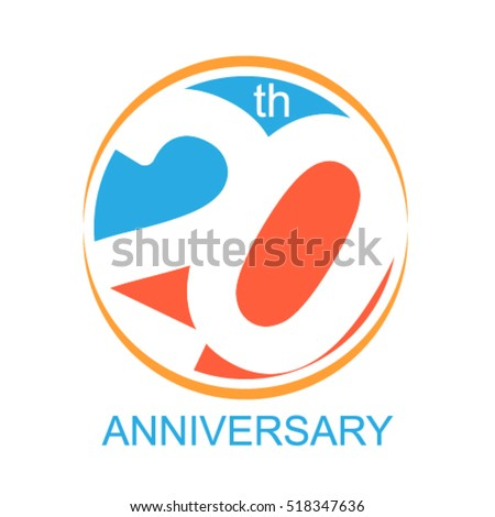 20th Years Anniversary Celebration Logo Sign Stock Vector 518347636
