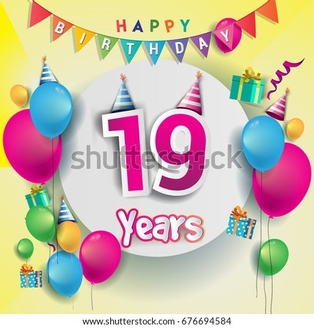 19th Birthday Images RoyaltyFree Images Vectors – Happy 19th Birthday Cards