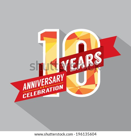 10th Years Anniversary Celebration Design - stock vector
