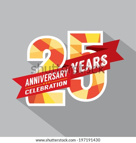 25th Years Anniversary Celebration Design - stock vector