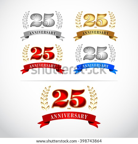 25th Years Anniversary Celebration Design template set on white background. Isolated vector illustration design. Silver, blue, gold, red versions.